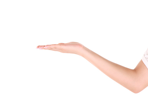 istock Woman's hand open with palm up against white background 148776331