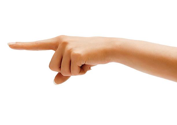 femme main points un doigt sur quelque chose de - gaucher photos et images de collection