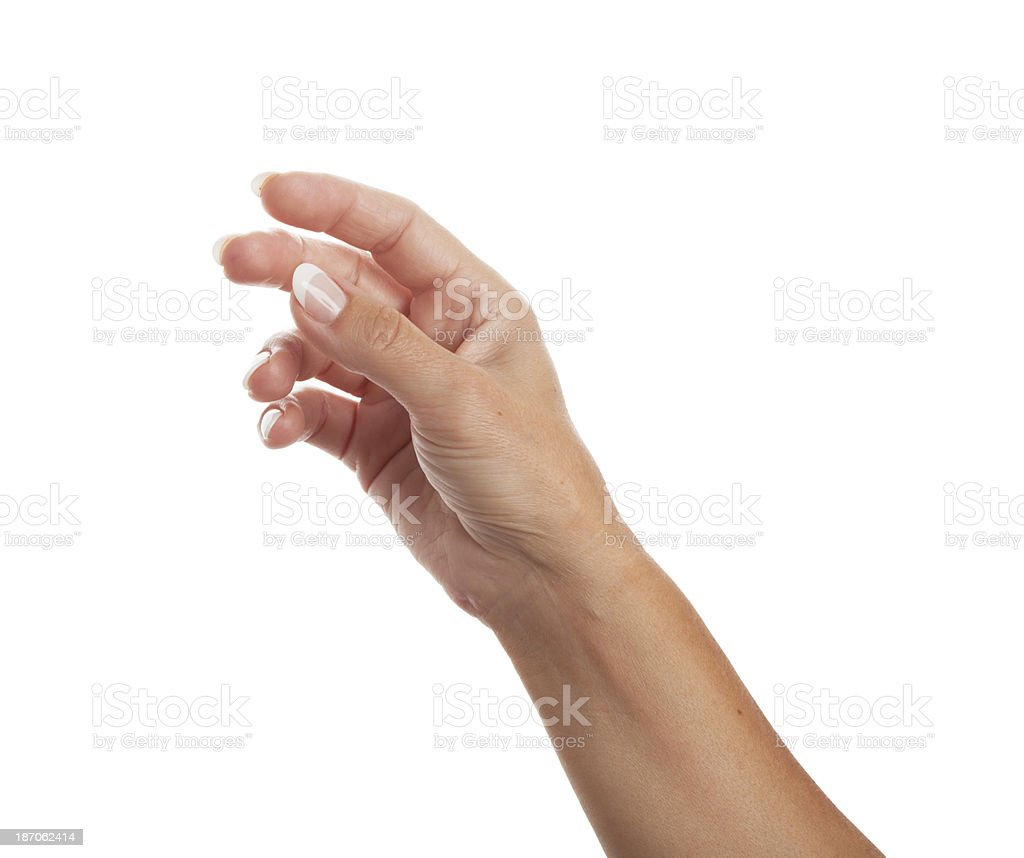 Womans hand reaching for something - isolated stock photo