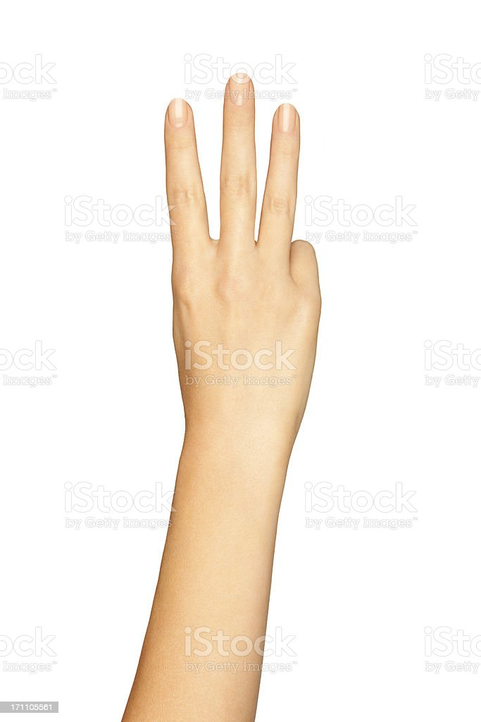Woman's Hand Showing Three Fingers On A White Background royalty-free stock photo