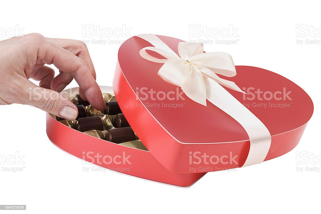 Woman's hand taking chocolate candy royalty-free stock photo