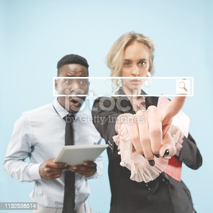 Businesswoman finger touching empty search bar, modern business background concept - can be used for insert text or pictures.