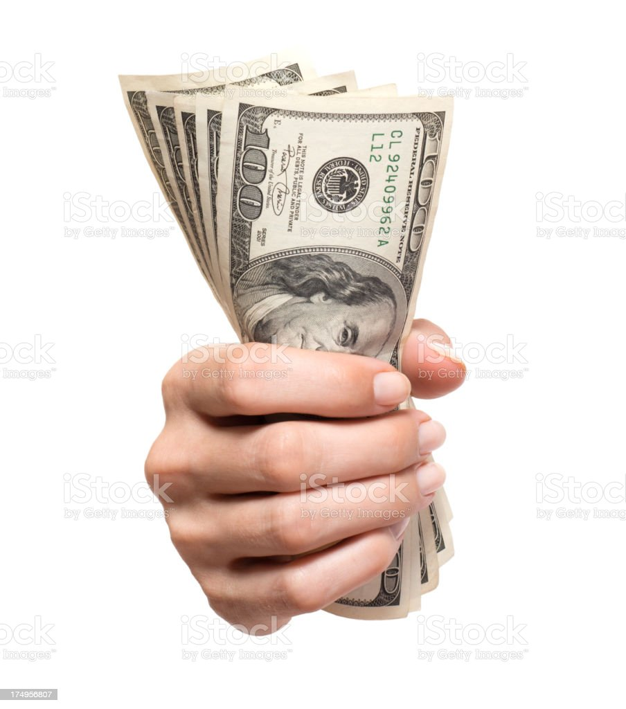 Woman's Hand with Hundred Dollar Bills Isolated on White Background stock photo