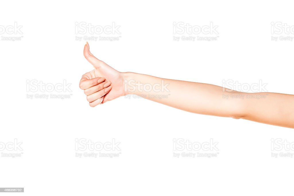 woman's hand with thumb up royalty-free stock photo
