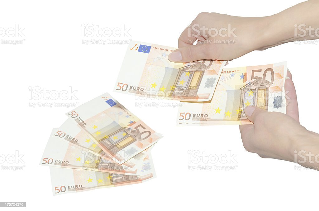 Woman's hands counting euro banknotes royalty-free stock photo