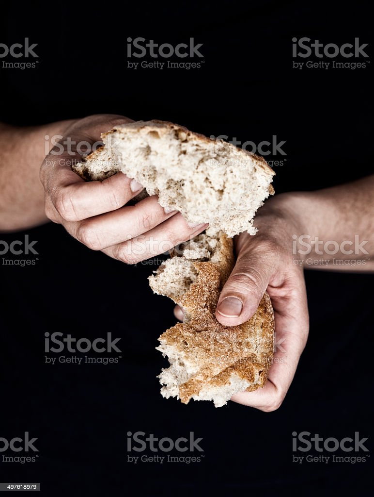 Woman's hands holding a pieces of bread stock photo
