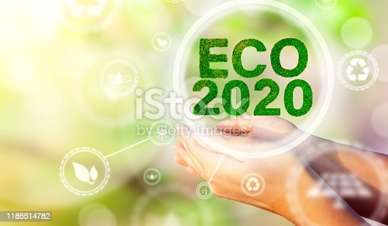 A woman's hands holding a text ECO 2020. Environmental biodiversity in ecosystem concept. Backdrop as a concept of energy efficiency. The power of green energy. Concept of renewable energies