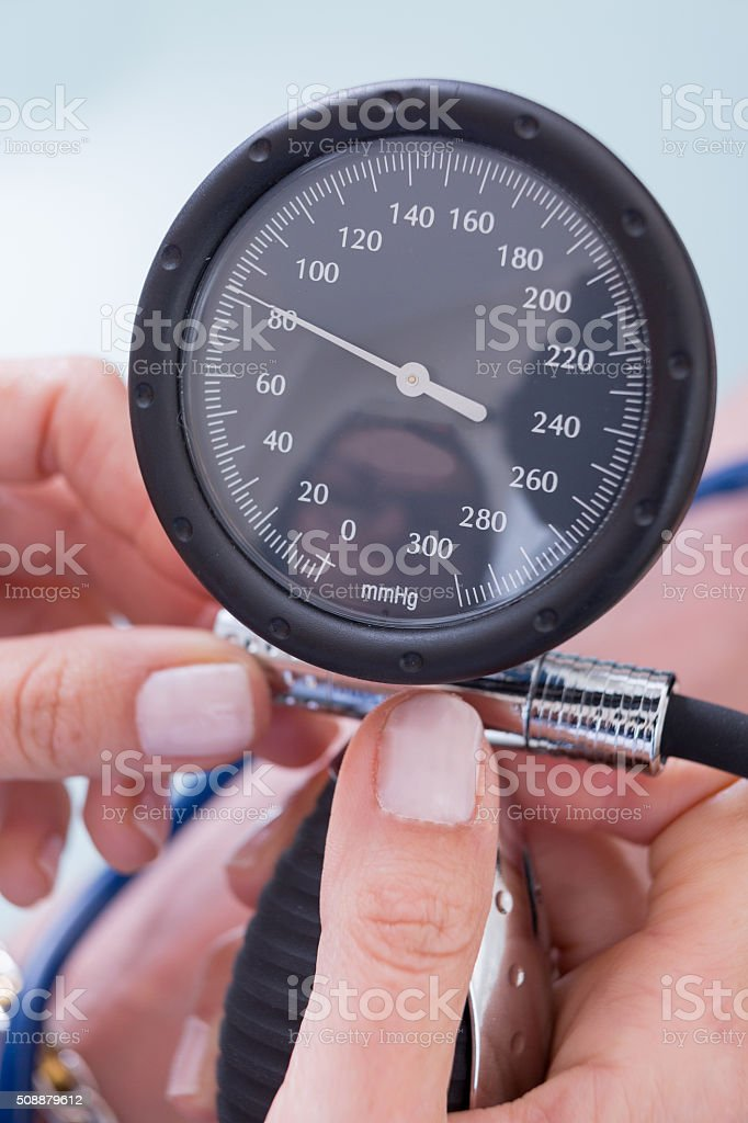 Womans hands holding manometer stock photo