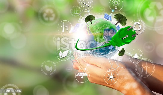 A woman's hands holding the green planet Earth. Environmental biodiversity in ecosystem concept. Concept of renewable energies. Render 3D. Some Elements Of This Image Provided By NASA