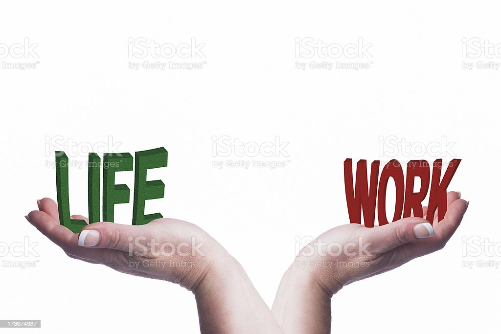 Woman's hands holding work life text conceptual image royalty-free stock photo