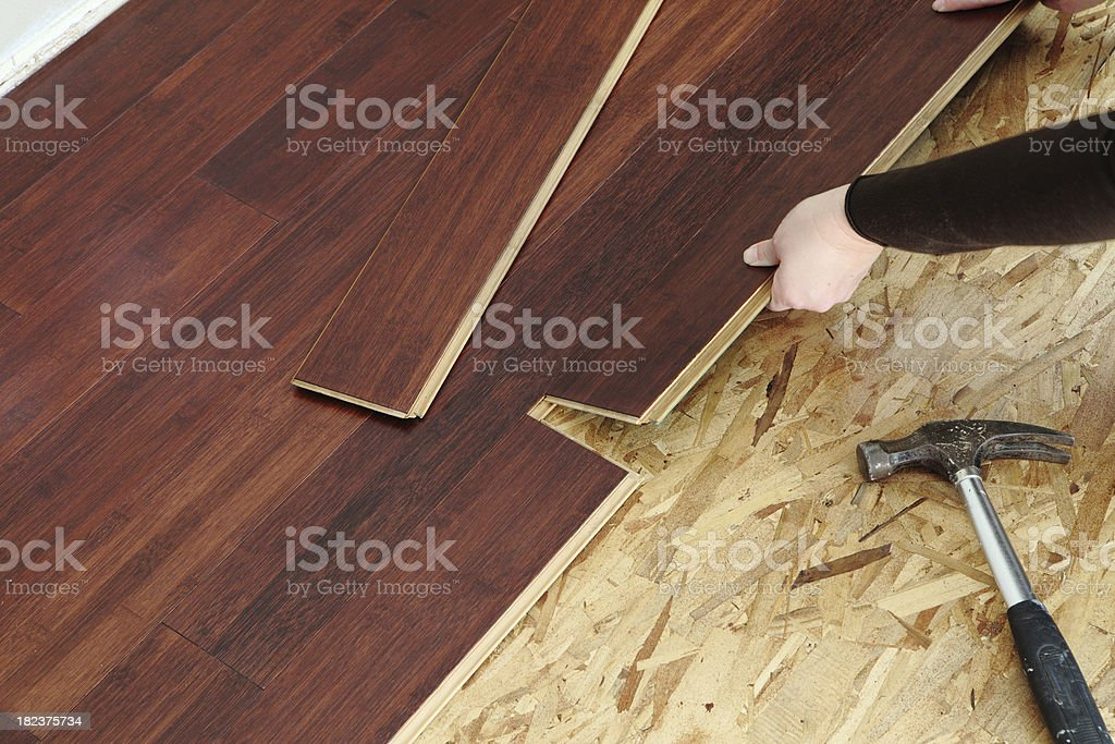 Woman's hands installing hardwood flooring stock photo