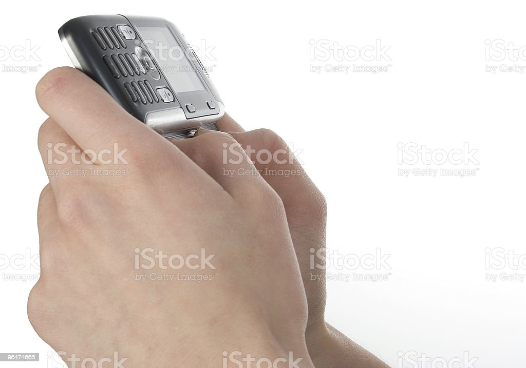 Woman's Hands on Cellphone royalty-free stock photo