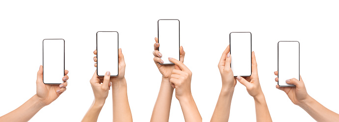 Set of woman's hands using smartphone with blank screen, isolated on white background, panorama