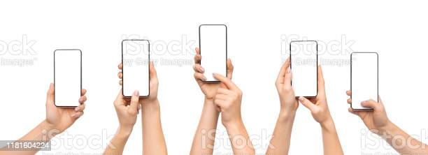 Womans hands using smartphone with blank screen over white background picture id1181604224?b=1&k=6&m=1181604224&s=612x612&h=ktnolpko8hd0kieg uh11fvvdcecjnmwzfe0i7hbdj8=