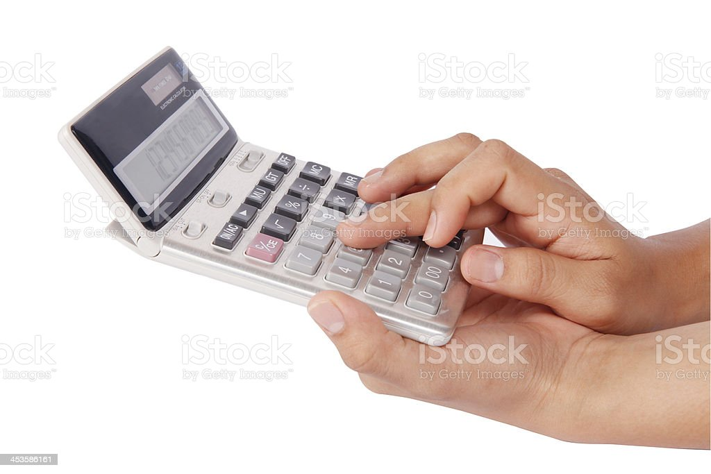 woman's hands with a calculator royalty-free stock photo
