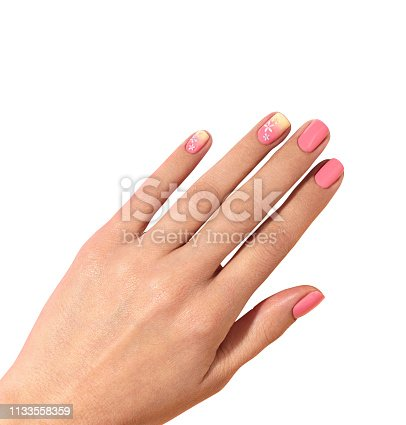 1147741037 istock photo Woman's hands with beautiful manicure isolated on white background 1133558359