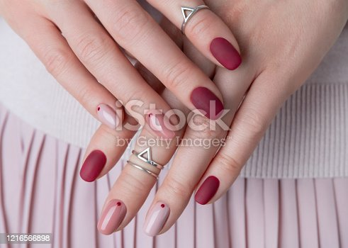 istock Womans hands with silver jewelry and accessories 1216566898