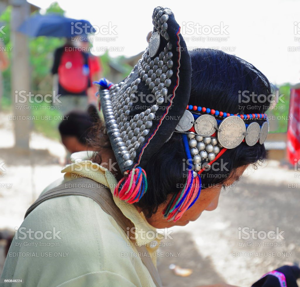 Woman's headdress. Akha Ya-Er hill tribe. BanHouayPhod-Phongsali province-Laos. 3704 stock photo