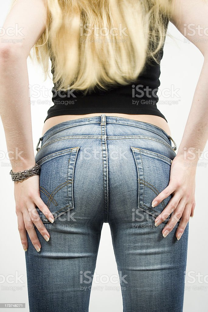 Womans jeans backside royalty-free stock photo
