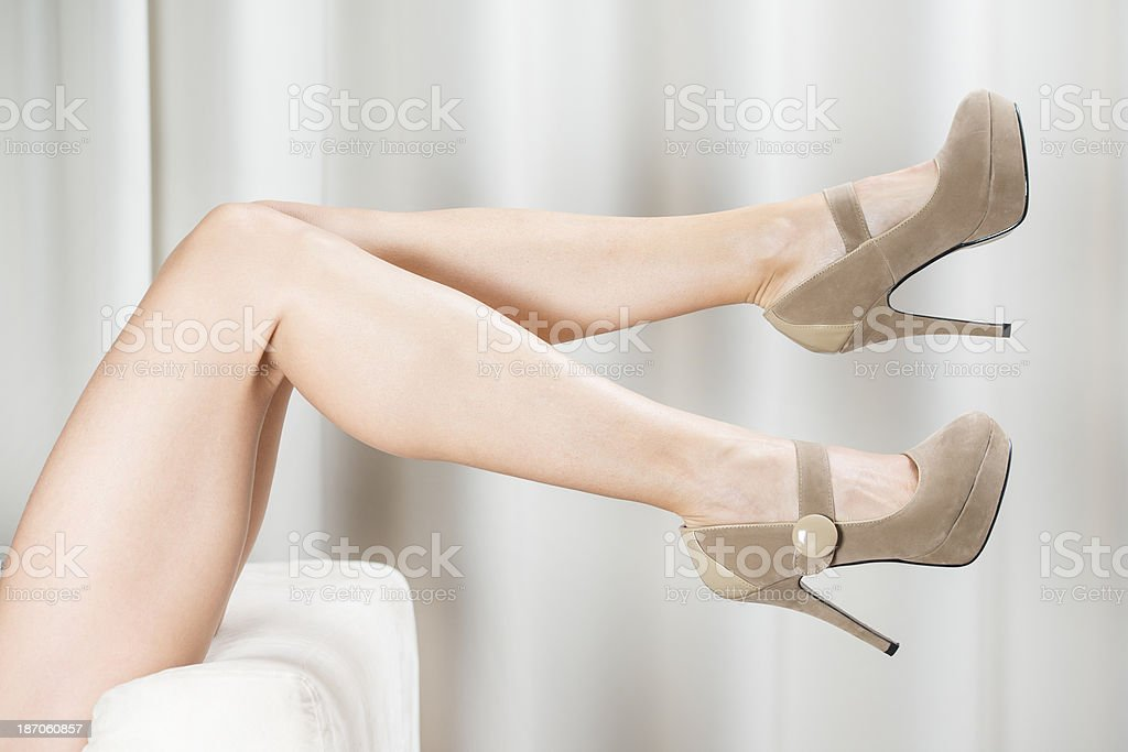 Woman´s legs in elegant High Heels shoes stock photo