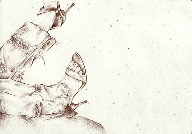 frau beine skizze - malerei schuhe stock-fotos und bilder