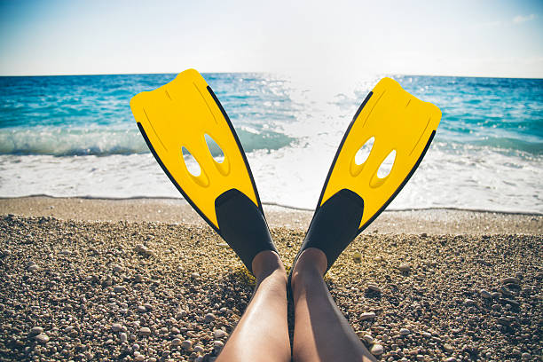 Womans legs with flippers on a beach Womans legs with flippers on a beach diving flipper stock pictures, royalty-free photos & images