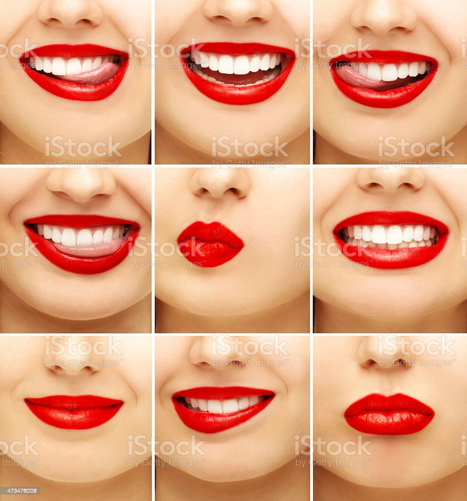 Woman's lips bright red make up stock photo
