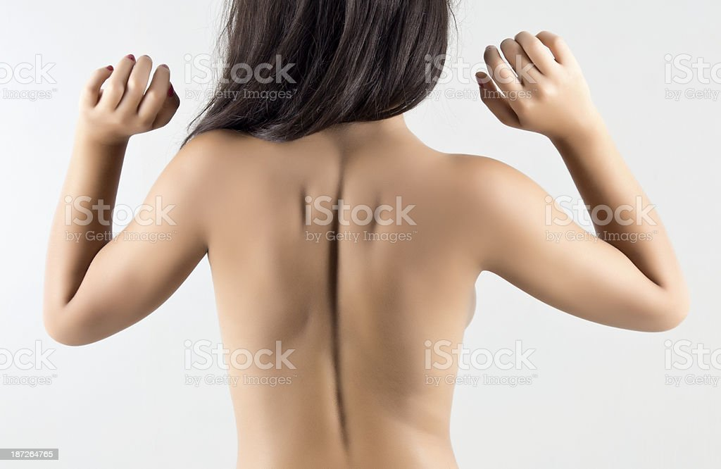 Woman's Naked Back On White Background royalty-free stock photo