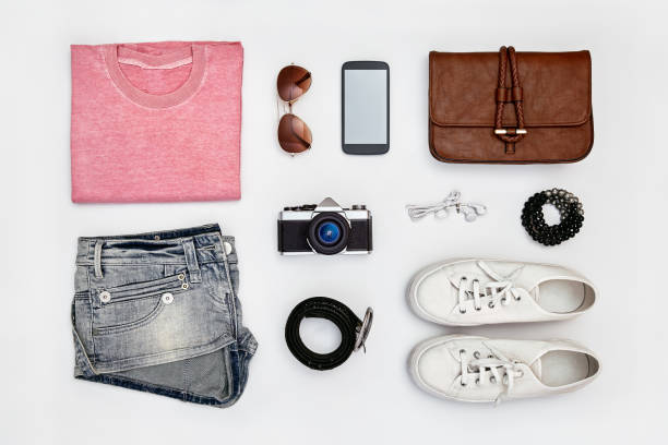 Woman's outfit and accessories stock photo
