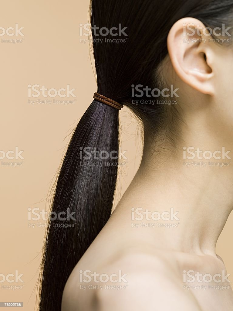 Woman's ponytail stock photo