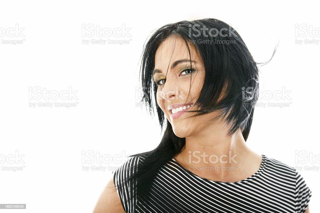 Woman's portrait on white royalty-free stock photo