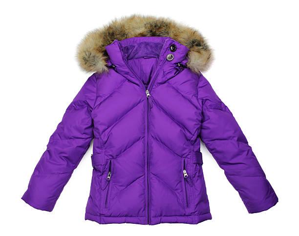 woman's purple down-filled winter parka jacket on white - 冬天大衣 個照片及圖片檔