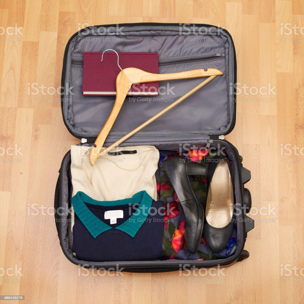 短假期或木地板 citytrip 的婦女手提箱 - 免版稅一個物體圖庫照片