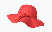 Woman`s summer red straw hat isolated