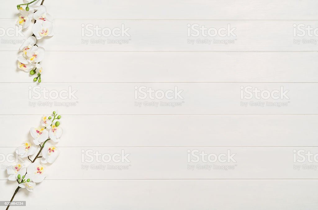 Woman's table, desk or workspace seen from above. Top foto royalty-free