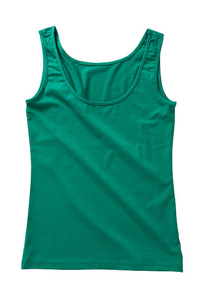 woman's t-shirt green sleeveless shirt isolated on white background ( with clipping path) tank top stock pictures, royalty-free photos & images