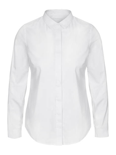 Womans white business shirt on invisible mannequin isolated on white Womans white business shirt on invisible mannequin isolated on white blouse stock pictures, royalty-free photos & images