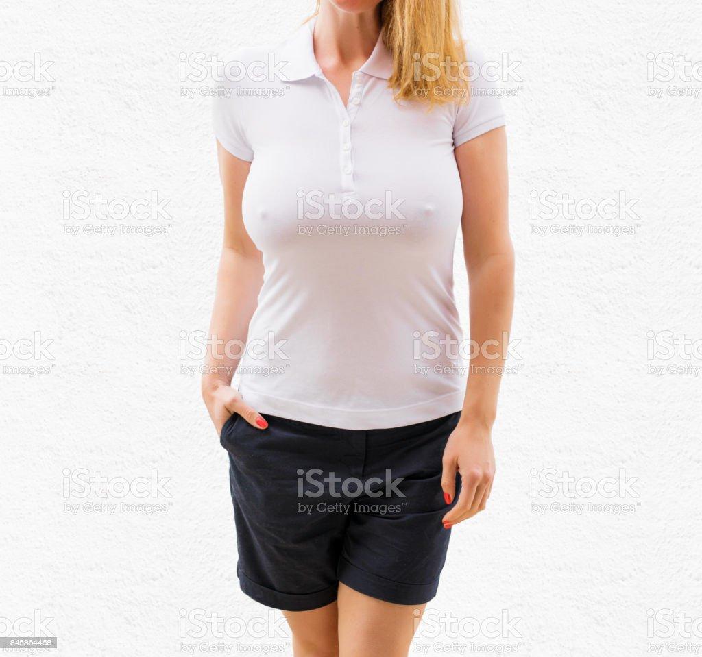 Woman's white polo shirt mockup stock photo
