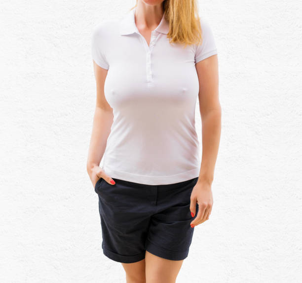 woman's white polo shirt mockup - effortless stock photos and pictures