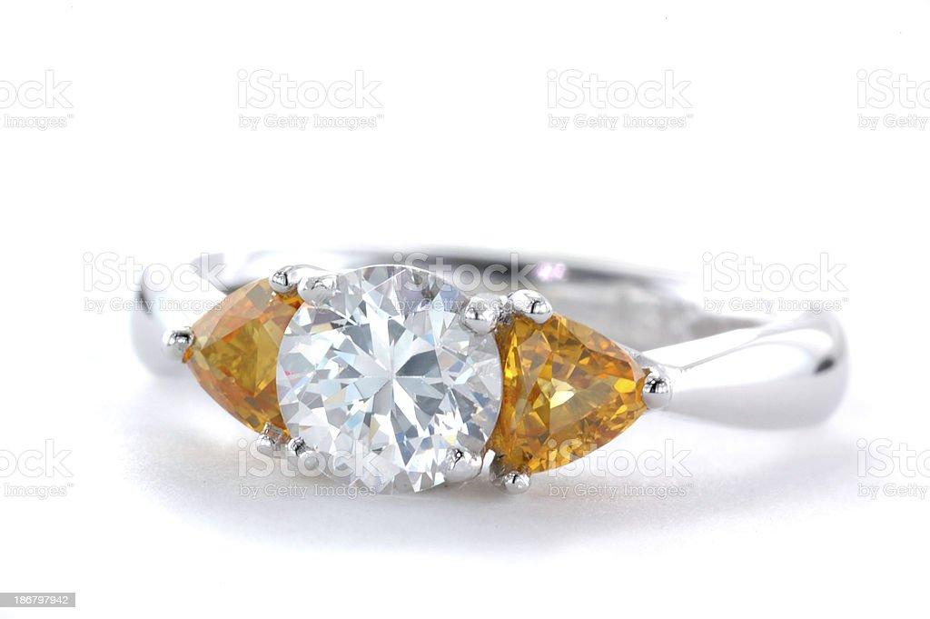 Woman's Yellow Diamond and White Gold Wedding Ring royalty-free stock photo