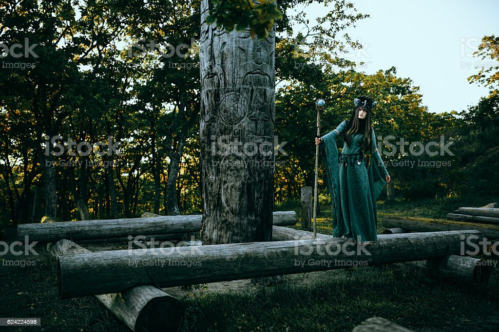 Woman-shaman with horns stock photo