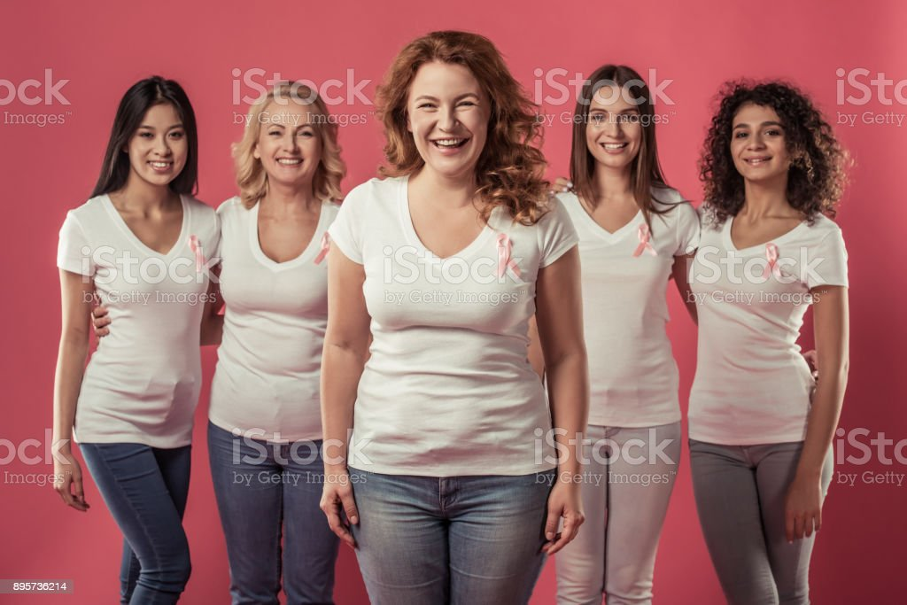 Women against breast cancer stock photo