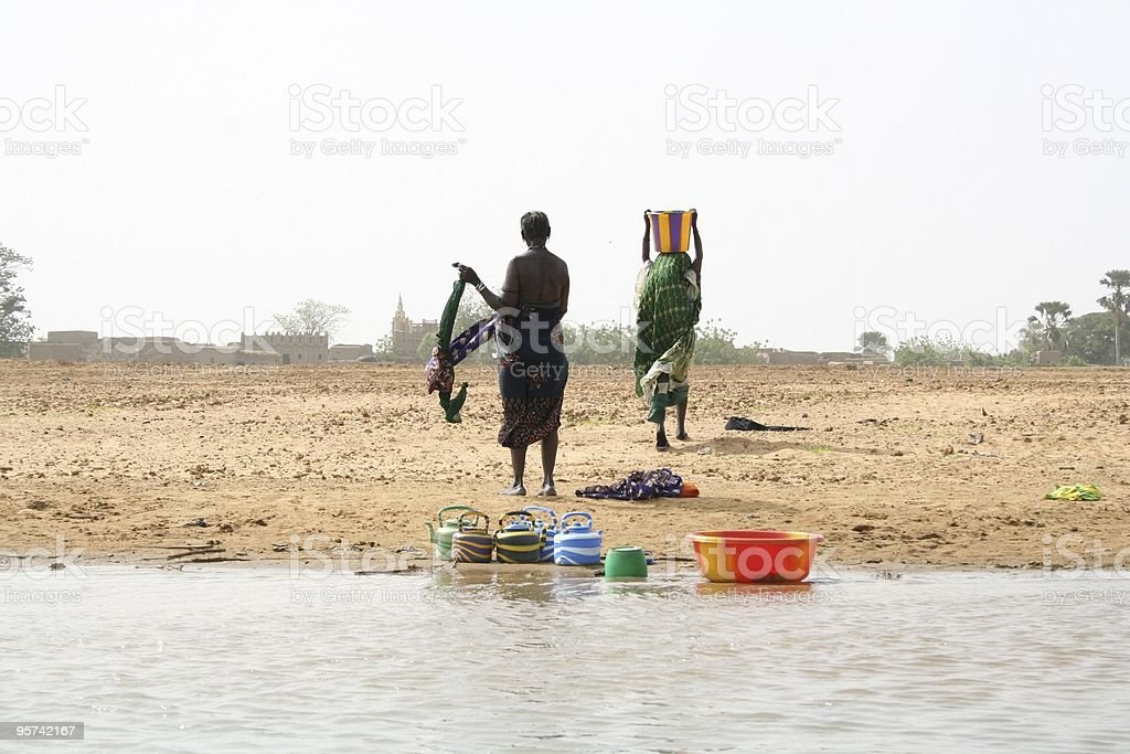 Women along the Niger river stock photo