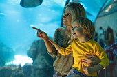 Young women and small boy enjoying in aquarium together