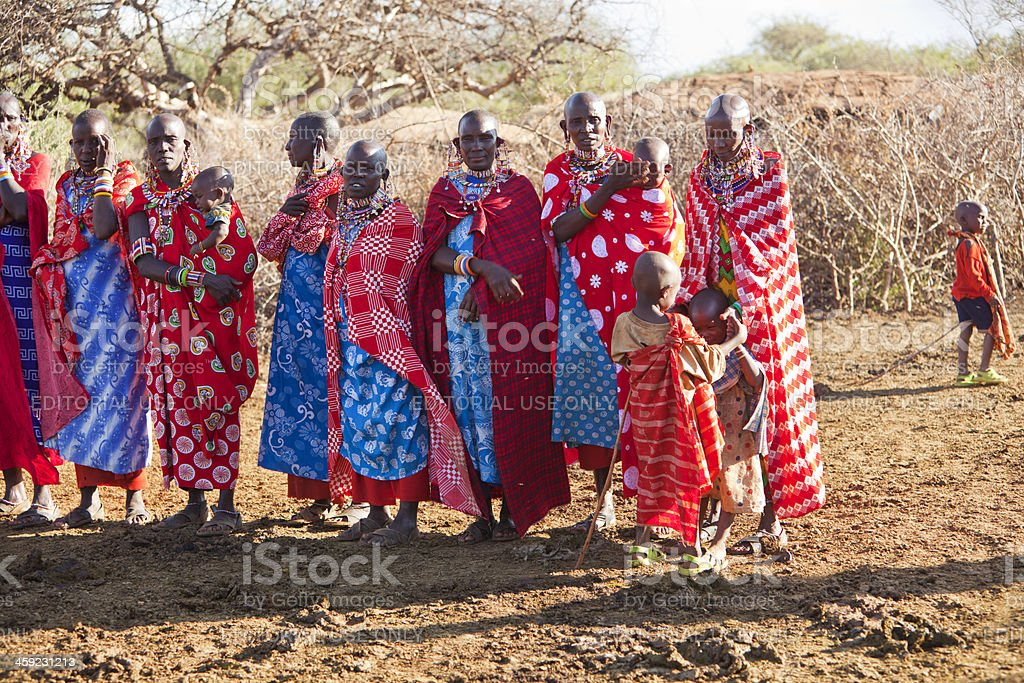 Women and children in maasai village. royalty-free stock photo