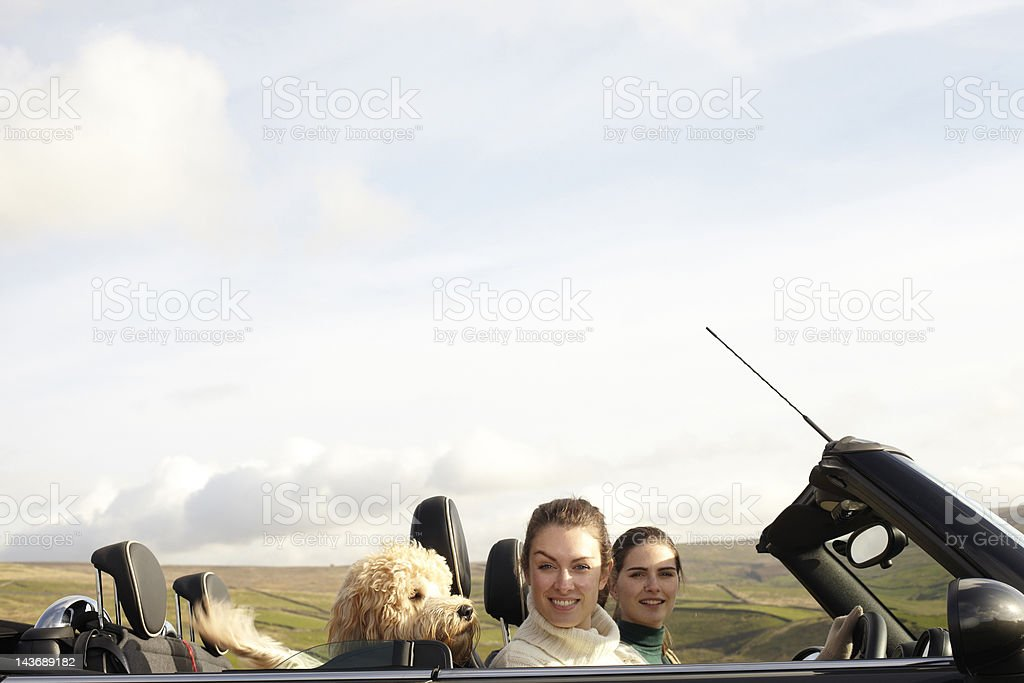 Women and dog driving in rural landscape stock photo