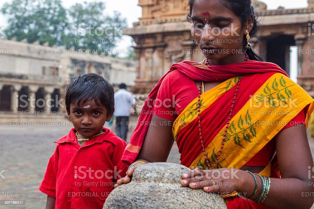Women and Kid at Thanjavur, India stock photo