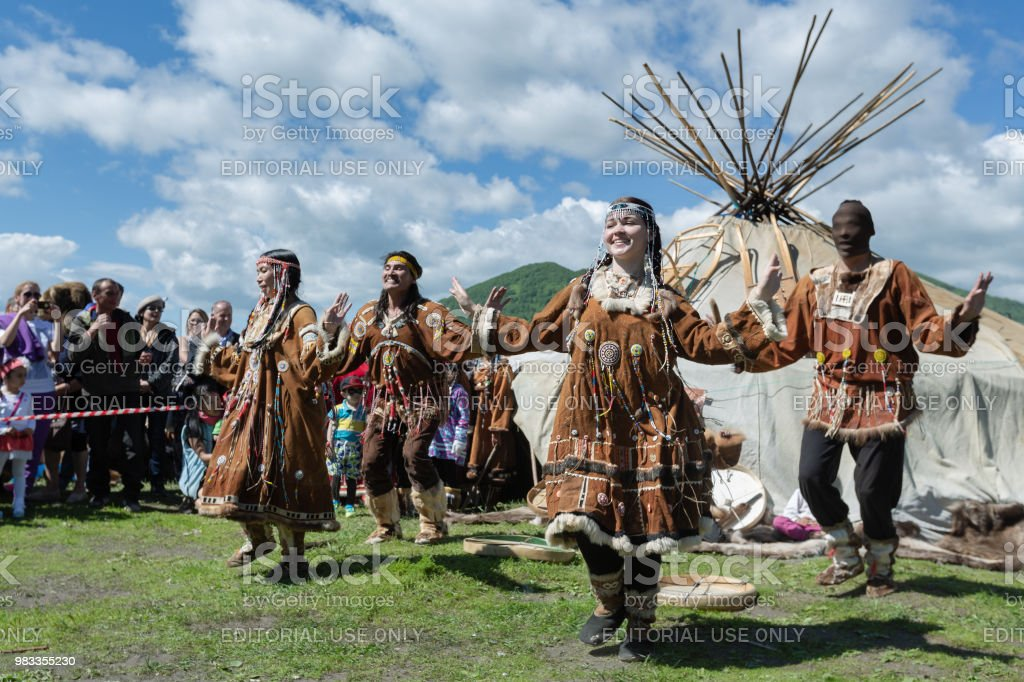 Women and men in national clothing indigenous inhabitants of...