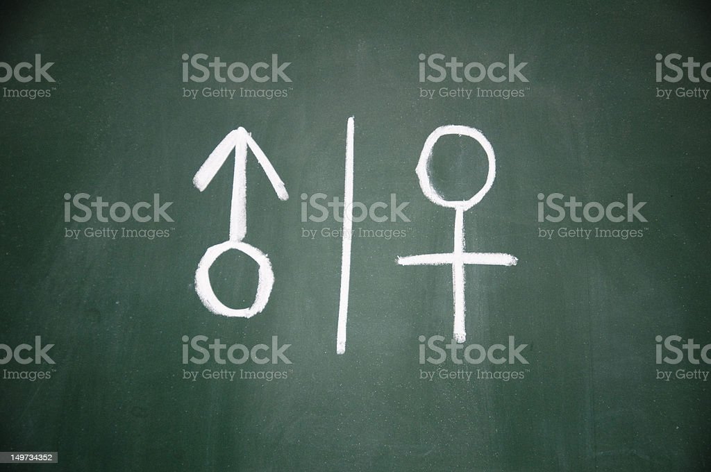 women and men sign drawn with chalk on blackboard royalty-free stock photo