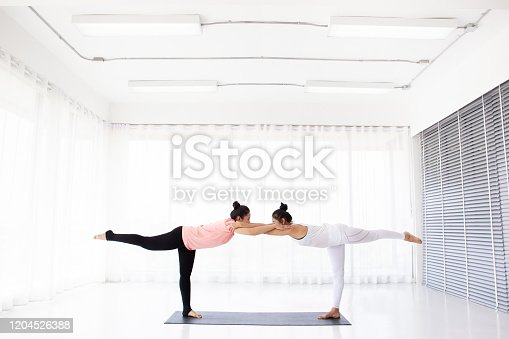 Women doing yoga exercise together, one is a yoga trainer and one is a trainee.  Concept of wellness, healthy life and healthy activity in every day lifestyle.  Photograph with copy space for background.